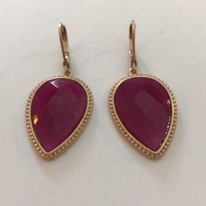 Lonna Gold Tone Stone Drop in Pink